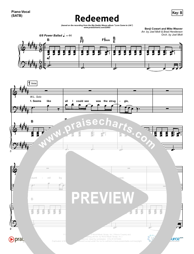 Redeemed Piano/Vocal (SATB) (Big Daddy Weave)