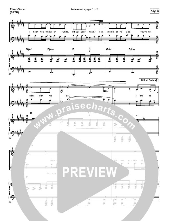 Redeemed Lead Sheet Pianovocal Big Daddy Weave Praisecharts