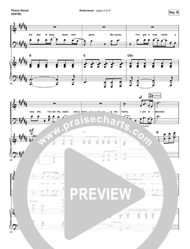 Redeemed Lead Sheet & Piano/Vocal - Big Daddy Weave | PraiseCharts