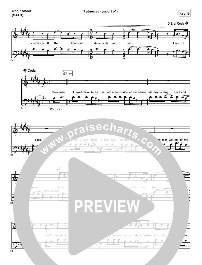 Redeemed Choir Sheet (SATB) (Big Daddy Weave)