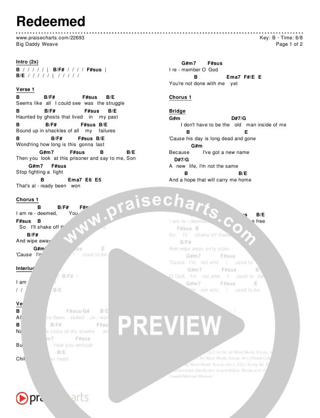Redeemed Chords - Big Daddy Weave | PraiseCharts