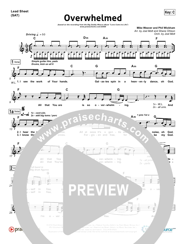 Overwhelmed Lead Sheet & Piano/Vocal - Big Daddy Weave | PraiseCharts