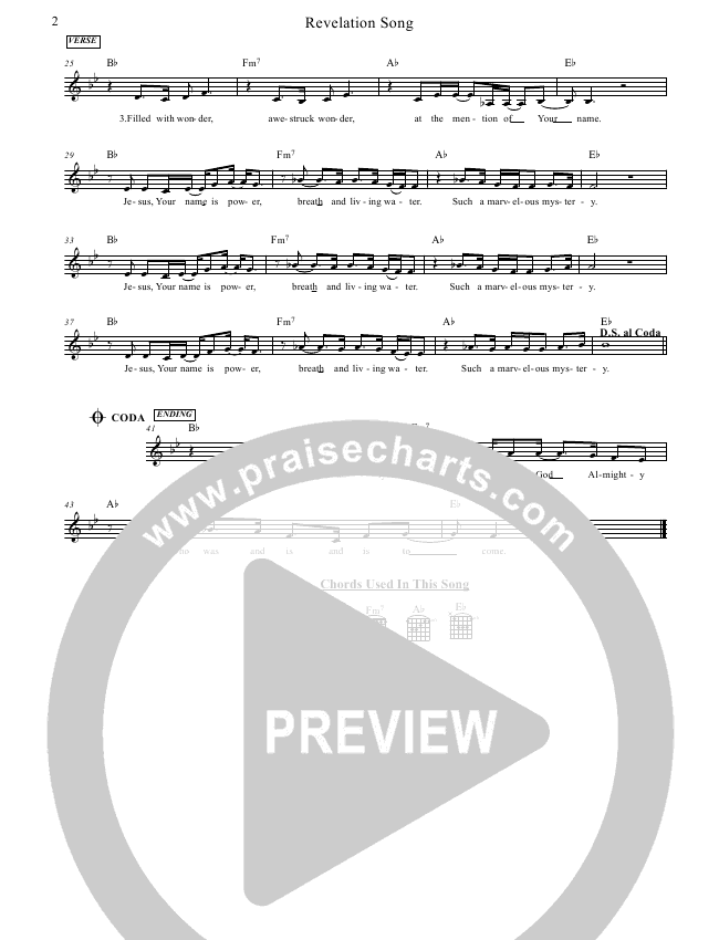 Revelation Song Lead Sheet Pianovocal Jennie Riddle People