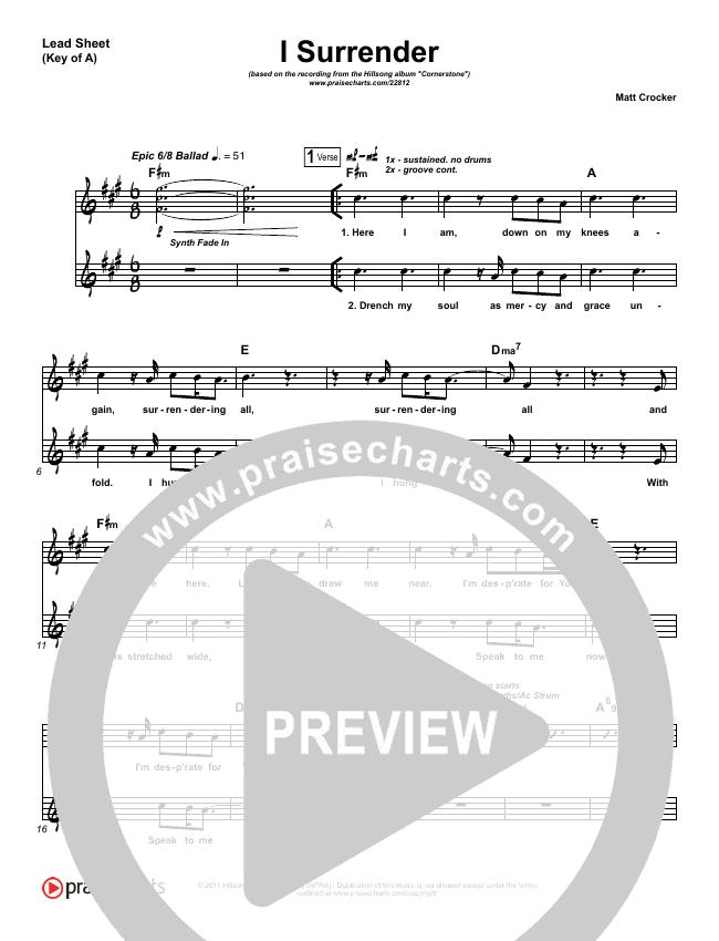 I Surrender Lead Sheet (Melody) (Hillsong Worship)