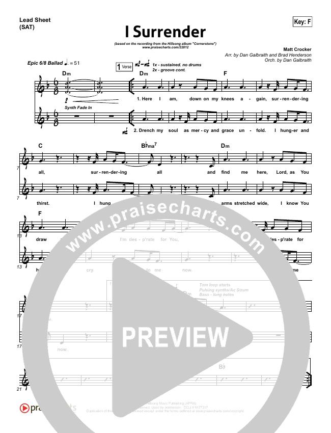 I Surrender Lead Sheet (SAT) (Hillsong Worship)
