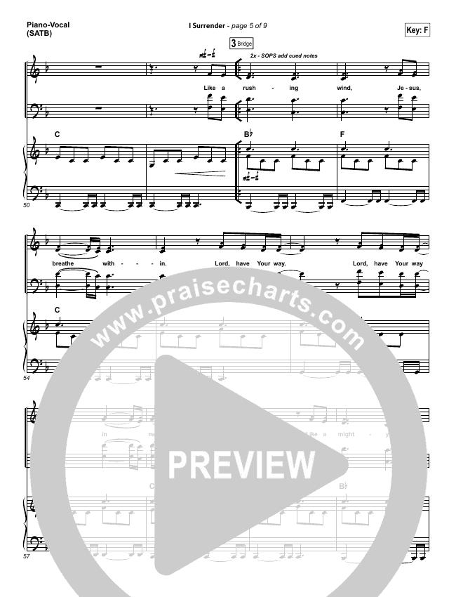 I Surrender Lead Sheet Pianovocal Hillsong Worship Praisecharts