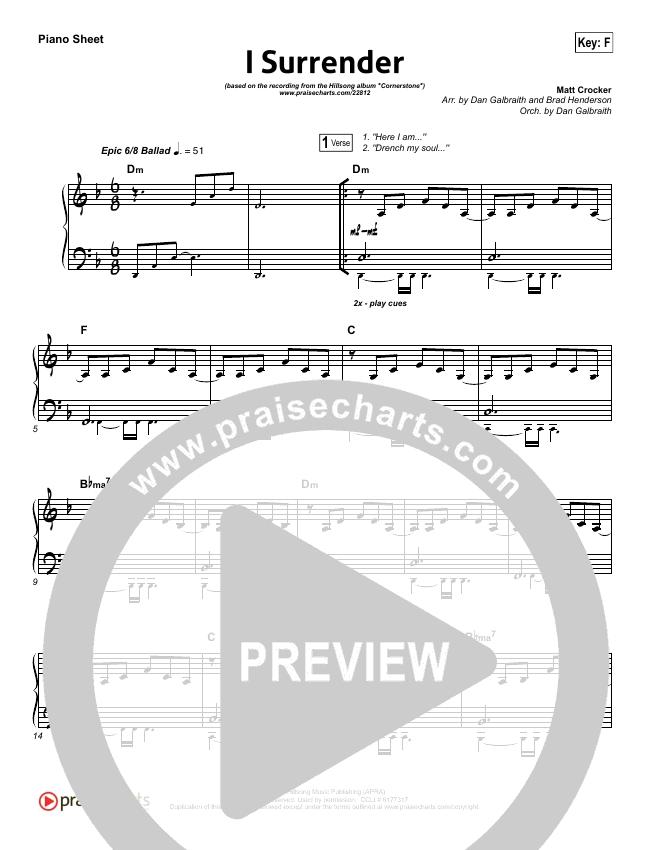 I Surrender Piano Sheet (Hillsong Worship)