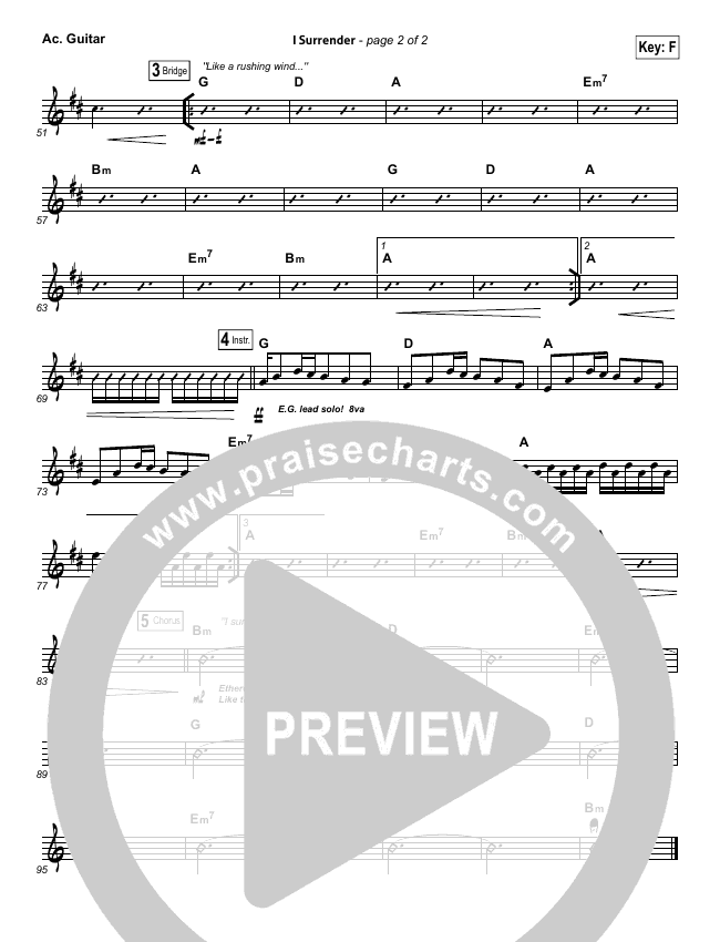 I Surrender Rhythm Chart (Hillsong Worship)