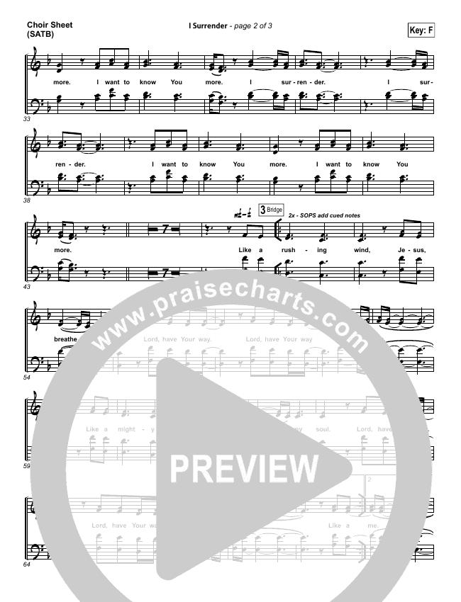I Surrender Choir Sheet (SATB) (Hillsong Worship)
