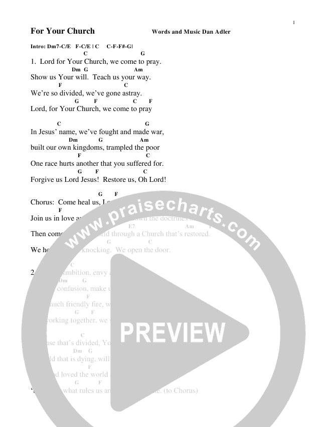 For Your Church Chord Chart (Heart Of The City)