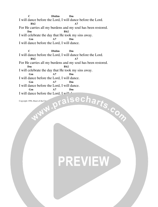 I Will Sing Unto The Lamb Chord Chart (Heart Of The City)