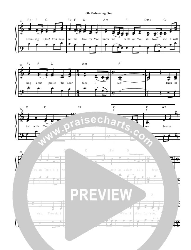 O Redeeming One Lead Sheet (Heart Of The City)