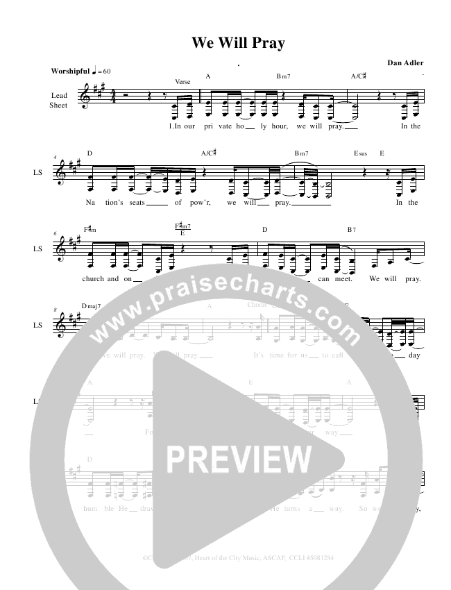 We Will Pray Lead Sheet (Heart Of The City)