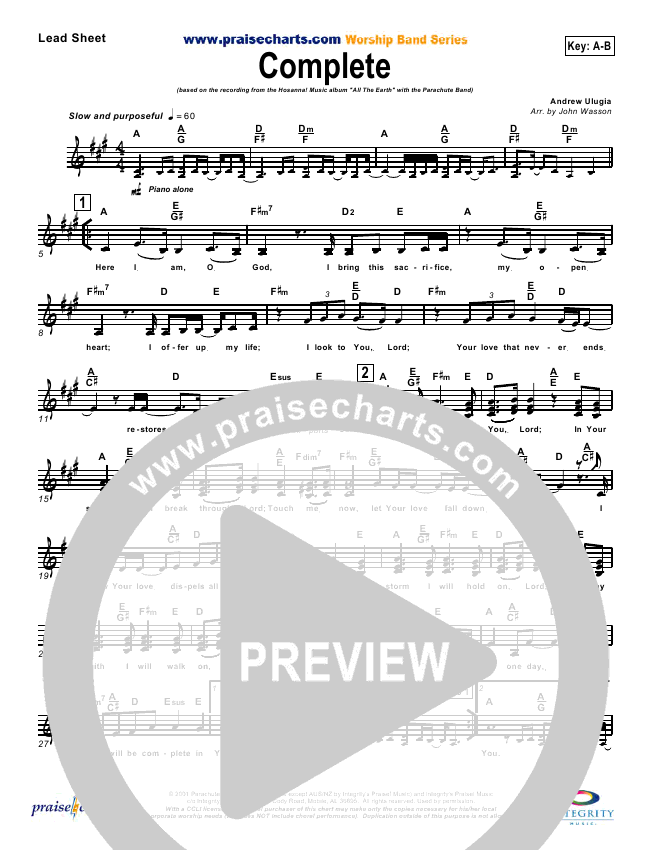 Complete Lead & Piano/Vocal (Parachute Band)