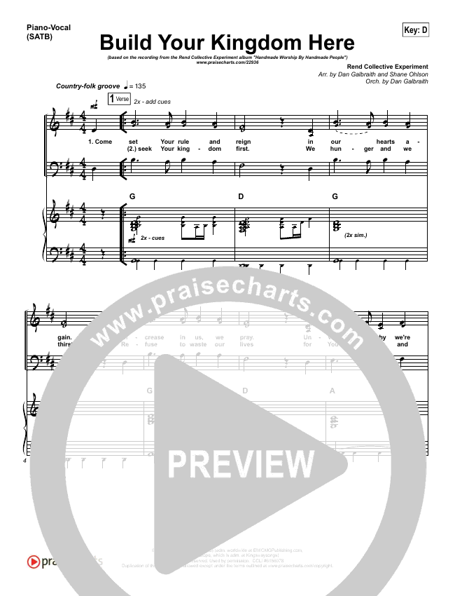 Build Your Kingdom Here Piano/Vocal (SATB) (Rend Collective)