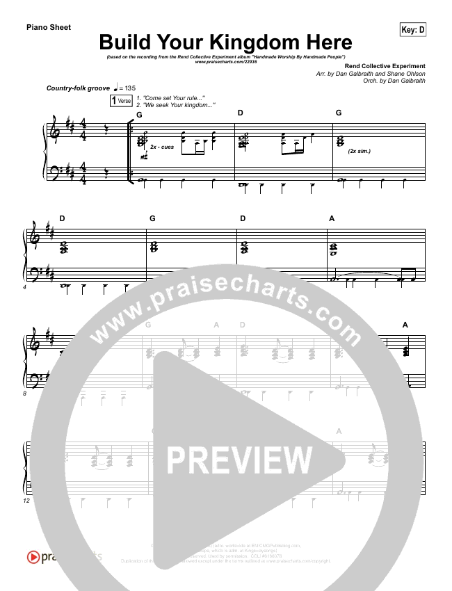 Build Your Kingdom Here Piano Sheet (Rend Collective)