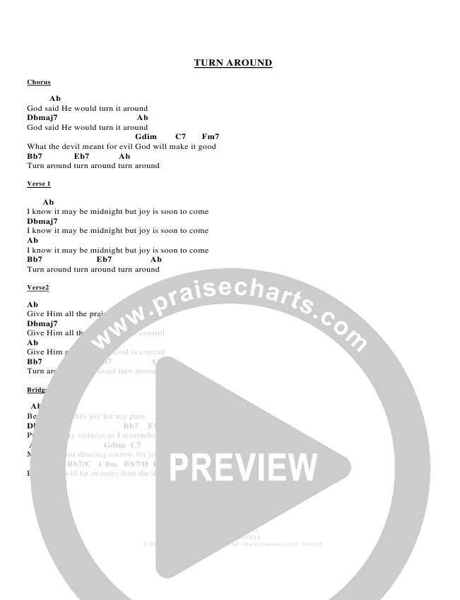 Turn Around Chords - Derick Thomas | PraiseCharts