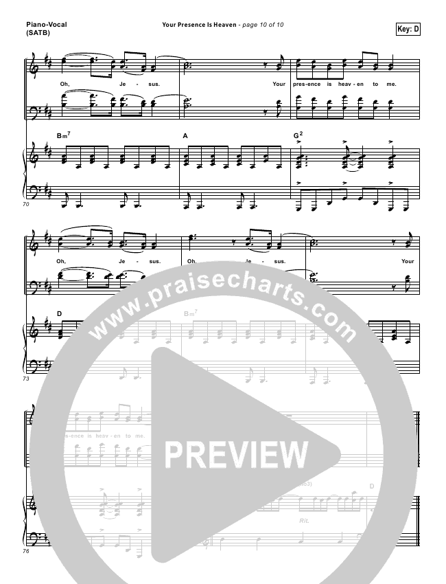 Your Presence Is Heaven To Me Lead Sheet & Piano/Vocal - Israel ...