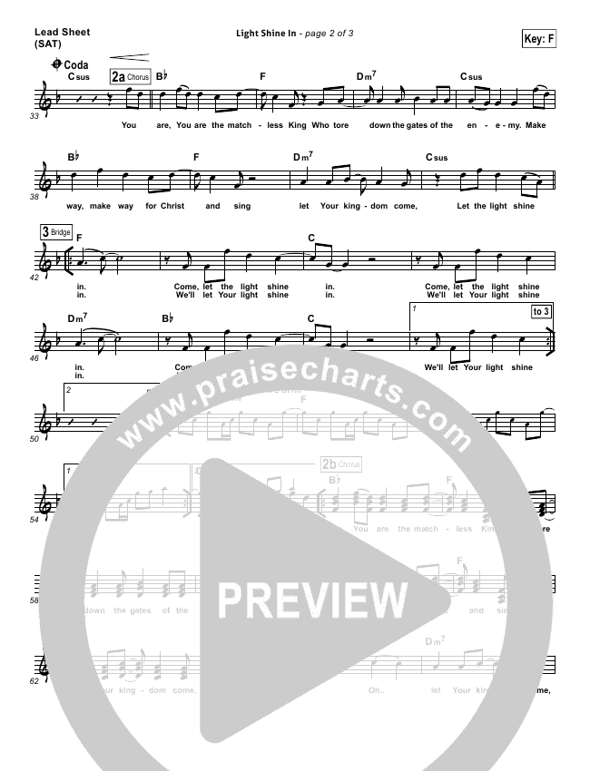 Light Shine In Lead Sheet (One Sonic Society)