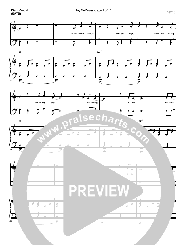 Lay Me Down Piano/Vocal (SATB) (One Sonic Society)