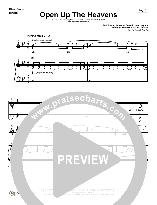 Open Up The Heavens Piano/Vocal (SATB) (Meredith Andrews)