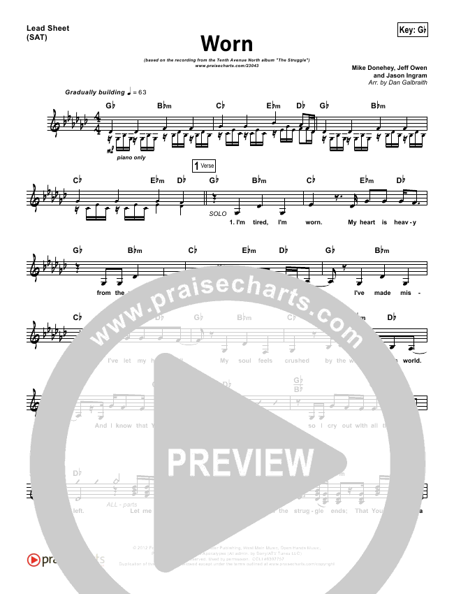 Worn Lead Sheet Pianovocal Tenth Avenue North Praisecharts
