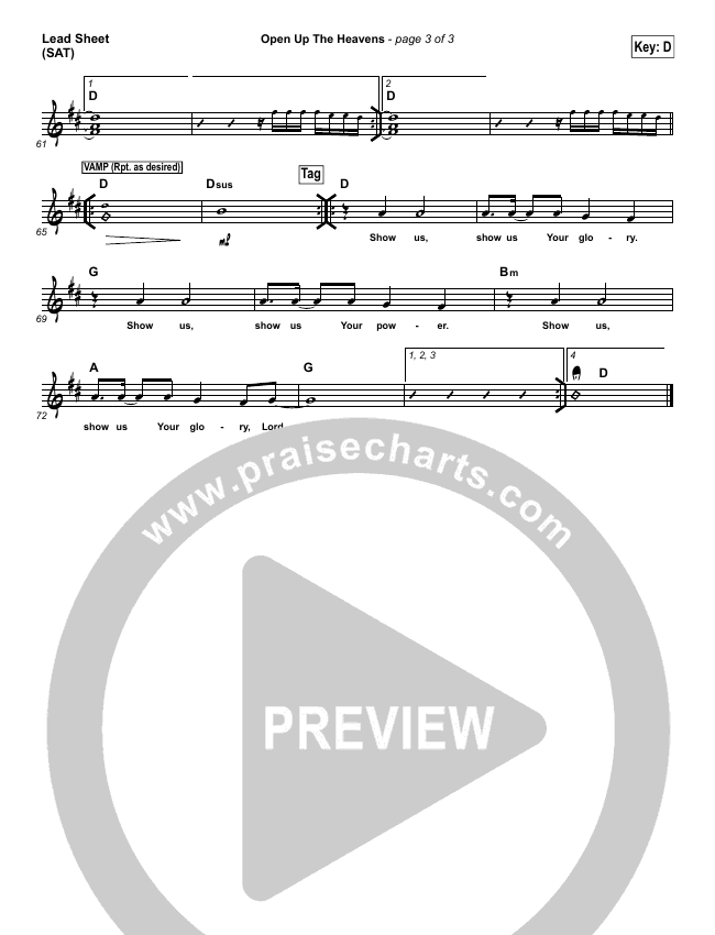 Open Up The Heavens Lead Sheet (SAT) (Vertical Worship)