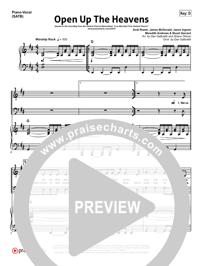 Open Up The Heavens Piano/Vocal (SATB) (Vertical Worship)