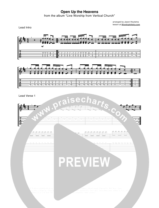 Open Up The Heavens Guitar Tab - Vertical Worship | PraiseCharts