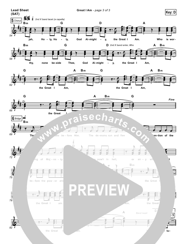 Great I Am Lead Sheet (Jared Anderson)
