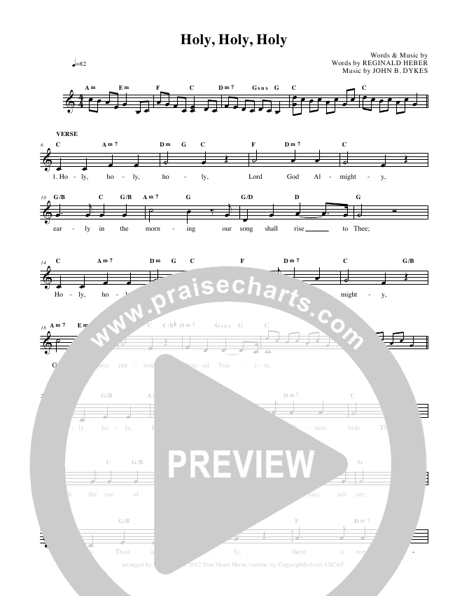 Holy Holy Holy Lead Sheet (Don Moen)