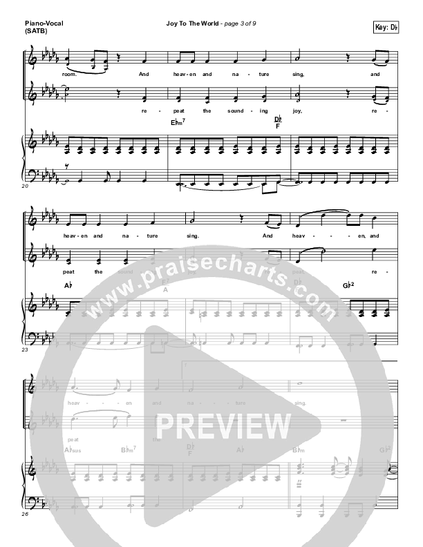 Joy To The World Piano/Vocal (SATB) (Lincoln Brewster)