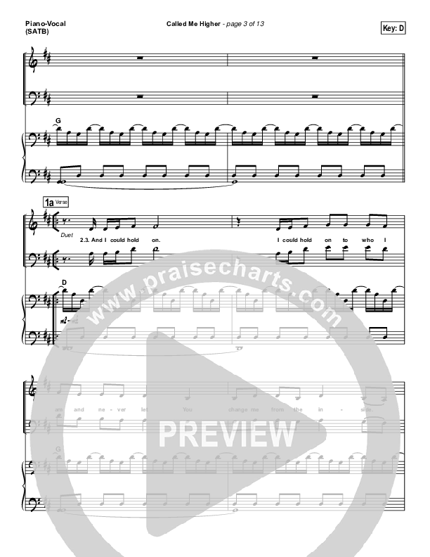 Called Me Higher Piano/Vocal (SATB) (All Sons & Daughters)