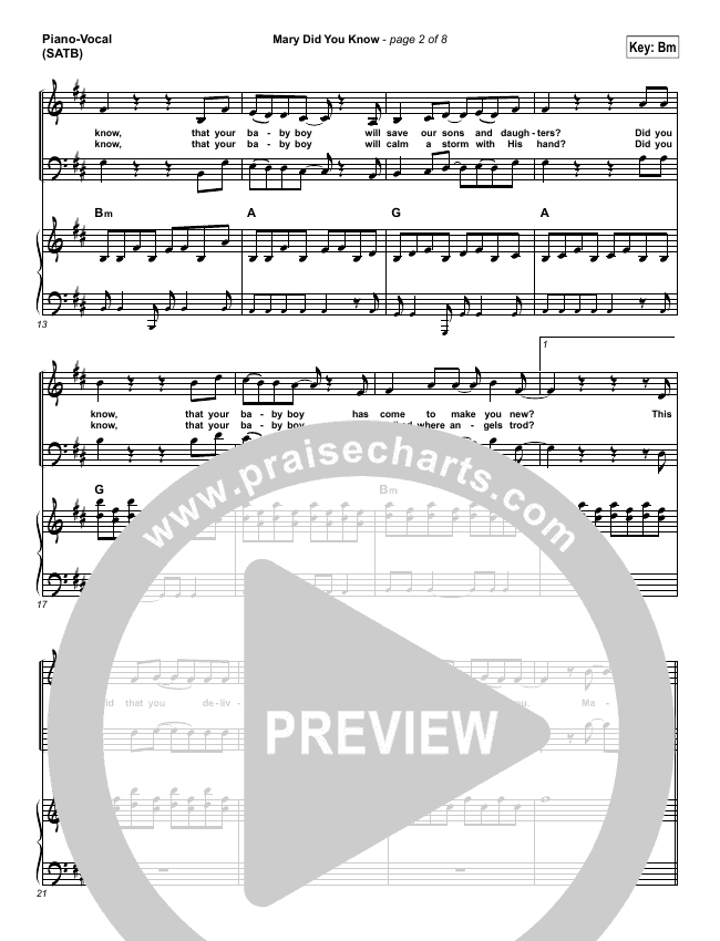 Mary Did You Know Piano/Vocal (SATB) (Jeremy Camp)