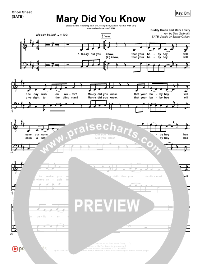 Mary Did You Know Choir Sheet Satb Jeremy Camp Praisecharts