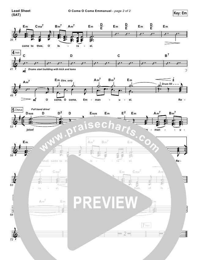 O Come O Come Emmanuel Lead Sheet & Piano/Vocal - Jeremy ...