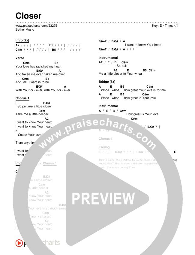 Closer Chords & Lyrics (Bethel Music)