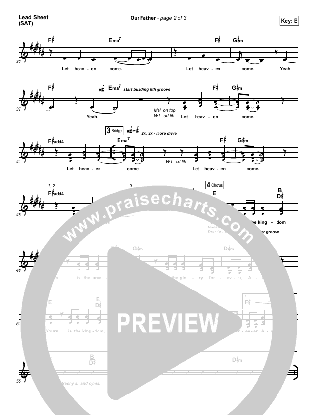 Our Father Lead Sheet Pianovocal Bethel Music Praisecharts