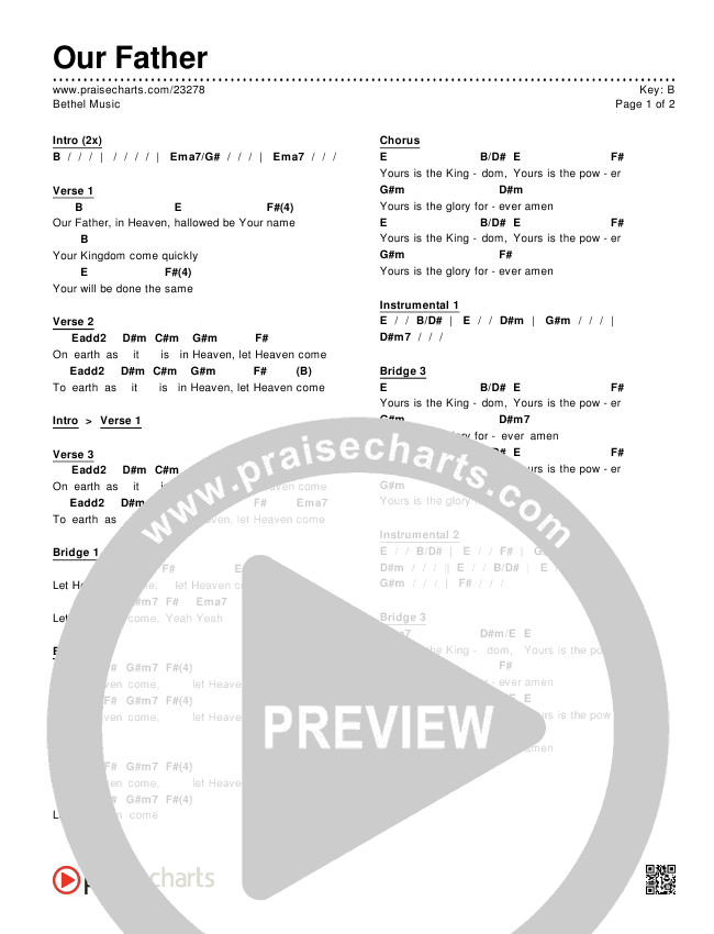 Our Father Chords - Bethel Music | PraiseCharts