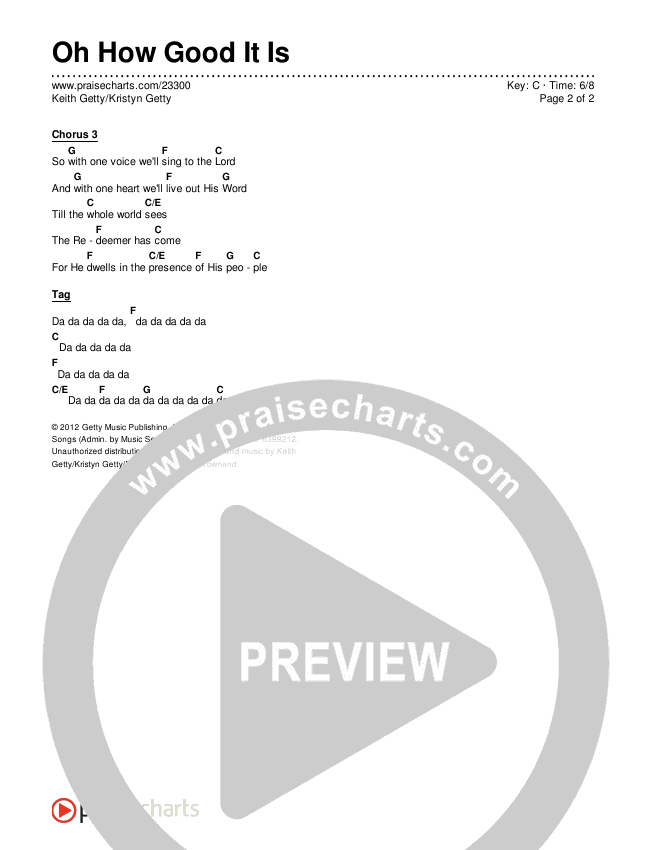 Oh How Good It Is Chords & Lyrics (Keith & Kristyn Getty)