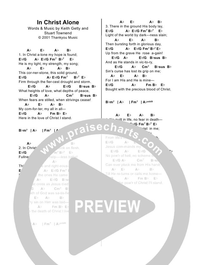 In Christ Alone Chord Chart (Alison Krauss / Keith & Kristyn Getty)