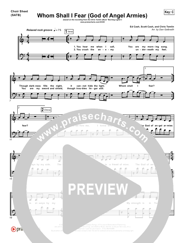 Whom Shall I Fear (God Of Angel Armies) Choir Sheet (SATB) - Chris ...