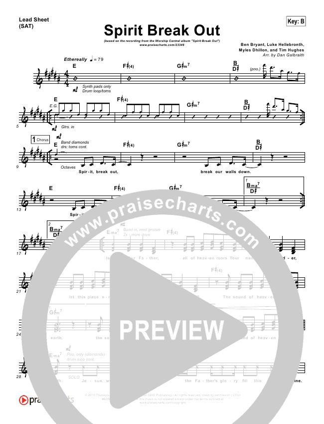Spirit Break Out Lead Sheet Pianovocal Worship Central
