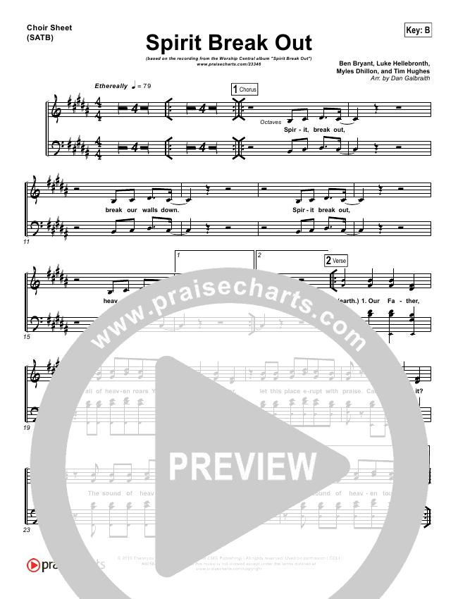 Spirit Break Out Choir Sheet (SATB) - Worship Central | PraiseCharts