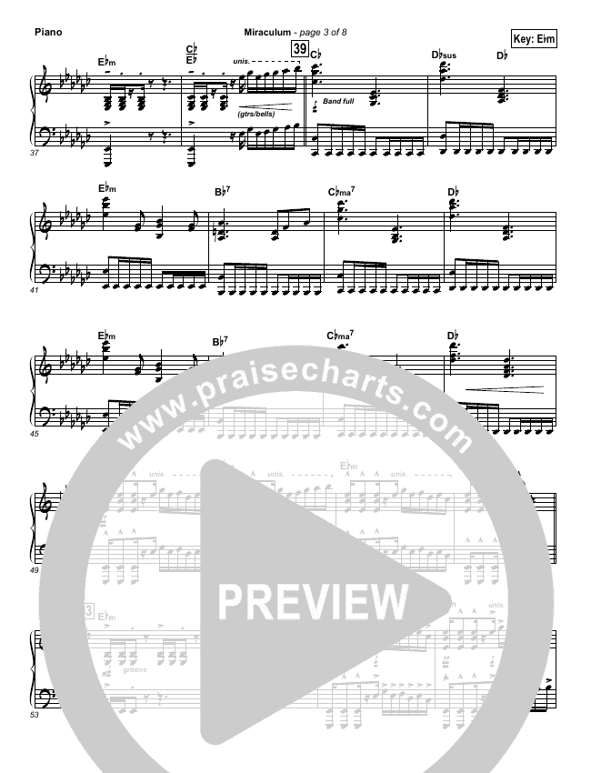 Miraculum Piano Sheet (Lincoln Brewster)