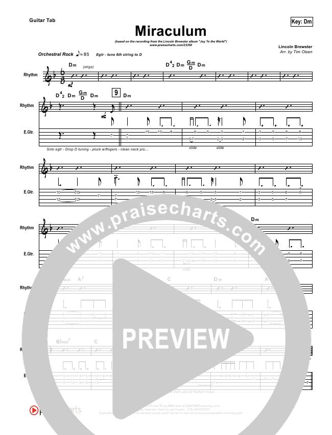 Miraculum Guitar Tab Lincoln Brewster Praisecharts