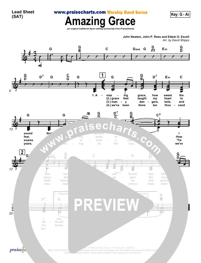 Amazing Grace Lead Sheet (SAT) (PraiseCharts / Traditional Hymn)