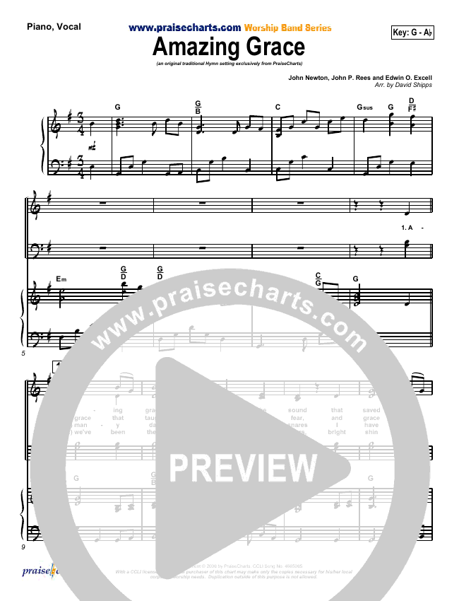 Amazing Grace Piano/Vocal (SATB) (PraiseCharts / Traditional Hymn)