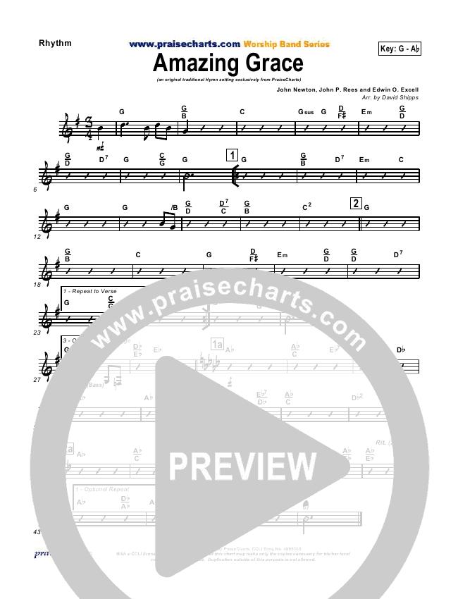 Amazing Grace Rhythm Chart (PraiseCharts / Traditional Hymn)