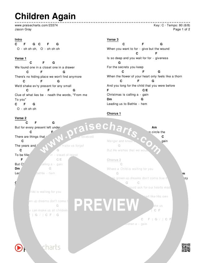 Jason Gray Children Again Chord Chart In C P 1